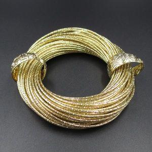 Jewelry - Vintage Unique Bright Gold Tone Small Bracelet